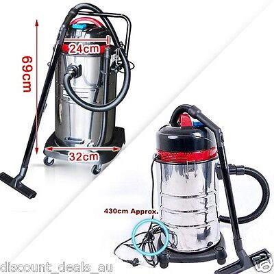 Industrial Wet And Dry Bagless Vacuum Cleaner 30 Litre Capacity Stainless Steel