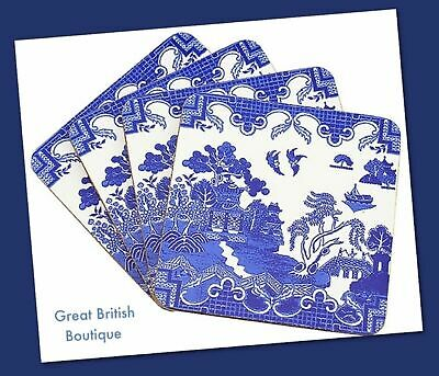 Gorgeous Classic Blue Willow Pattern Coasters -Set of  4 - Boxed