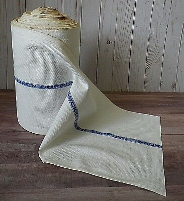 "Vtg Linen Toweling Fabric 6"" Roll 10 1/2"" W. Finished Edge Mickey's Linen Supply"