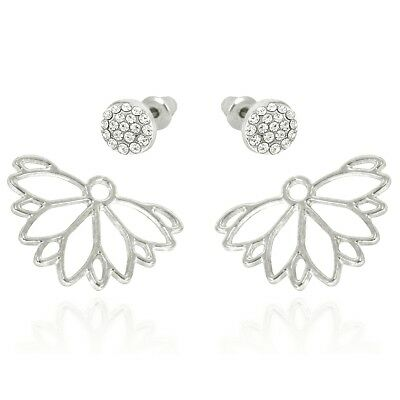 Hollow Daisy White Gold Plated Front Back Crystal Paved Two Ways Stud Earrings