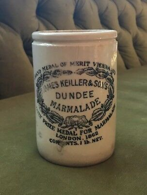 RARE Antique James Keiller & Sons Dundee Marmalade Stoneware Pot Jar Crock