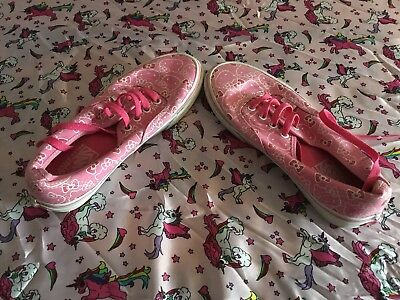 VANS HELLO KITTY Pink White Canvas Casual Trainers UK 5 EU