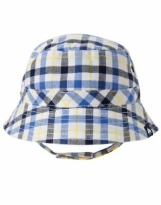 Blue and white Plaid Gymboree Fisherman Fishing Bucket Baby Hat NWT