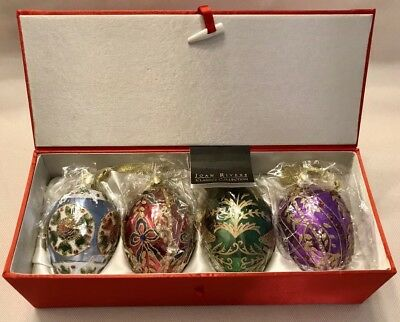 JOAN RIVERS Set Of 4 GLASS EGG ORNAMENTS Christmas Holiday RED SATIN BOX SEALED