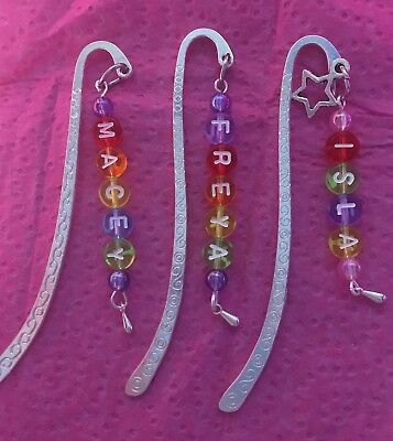 Multi-Coloured Rainbow Personalised Metal Bookmark Kids Party/Loot Bag Gift