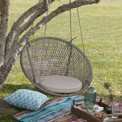 Tan Cushion Resin Wicker Hanging Round Swing Chair Home Patio Porch Furniture