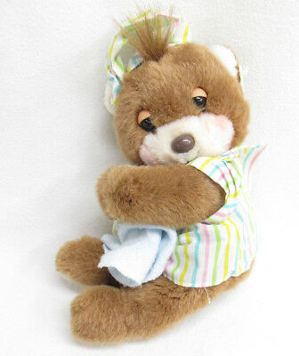 Vtg 1989 Baby Teddy Beddy Bear Rattle/Blanket