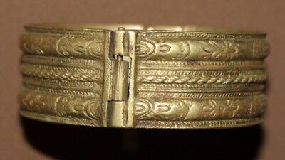 Antique Greek Folk Hand Made Brass Hinged Bracelet