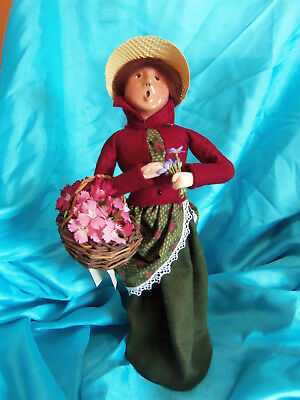 1994 Byers Choice Caroler Woman with Basket of Flowers Burgundy Coat Straw Hat