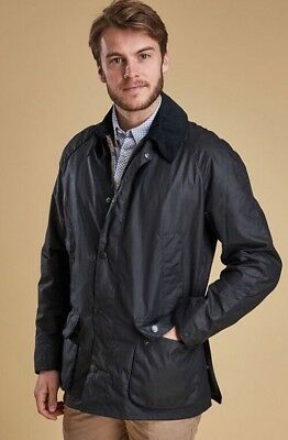 Barbour Ashby Waxed Cotton Jacket Navy Blue Size Large $399 *