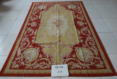 Vintage Red Gold Rose Floral French Hand Woven Aubusson Carpet