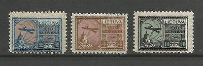 Lithuania Litauen Lietuva 1922 MH Mi 121-123 Sc C18-20 Fourth Airmail issue