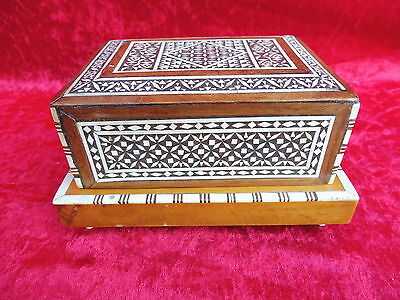 Beautiful, Old Casket __ Wood Decorated__Cigarette Box__ with the Game Clock __