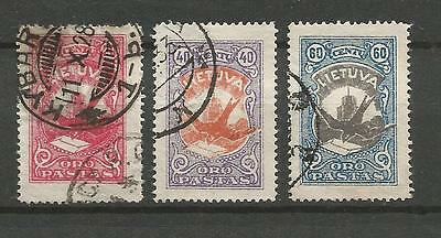 Lithuania Litauen Lietuva 1926 U Mi 243-245 Sc C37-39 Definitive Airmail issue