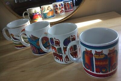 Laurel Burch Mugs Coffee Cup Lot Cat Flowers Mermaid Set New Sea Goddess Lotus