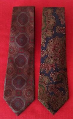 Lotto 2 Cravatte Firmate Gerani 100% Seta Slim Liberty Vintage Made in Italy