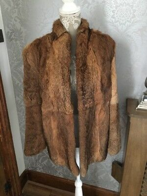 ce73a89e2cf Vintage Ladies Speckled Brown And Black Real Coney Fur Coat Jacket Uk 8 10