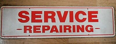"Vintage Sign ""Service Repairing"" Red & White 5.5"" x 20"" Heavy Plastic"
