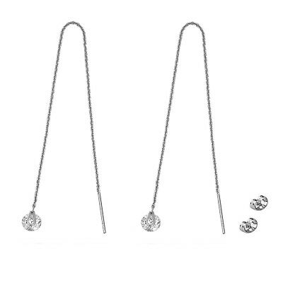 White Gold Plated Pull Through Threader Long Chain Crystal Delicate Earrings