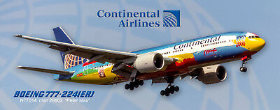 Continental Airlines (Peter Max) Boeing 777-224 Photo Magnet (PMT1685)