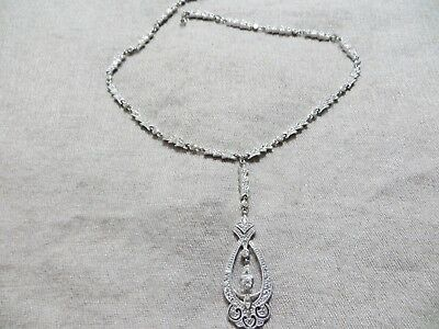 Antique Lavalier Style CZ.Ston 925 Sterling Bridal Weeding Formal Links Necklace
