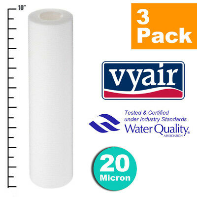 """VYAIR 10"""" PP 20 Micron Particle, Sediment, Reverse Osmosis Water Filter x 3"""