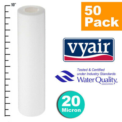 """VYAIR 10"""" PP 20 Micron Particle, Sediment, Reverse Osmosis Water Filter x 50"""