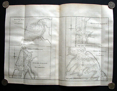 1773 Engraved Map/Chart of Tahiti French Polynesia From Cook's Voyages