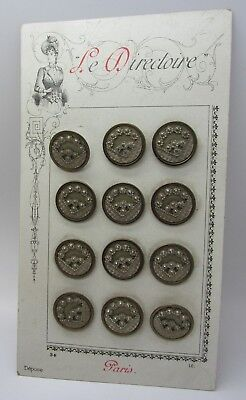 VERY RARE 1800's Antique 12 Steel Cup Brass Floral Buttons on Orig. Paris Card
