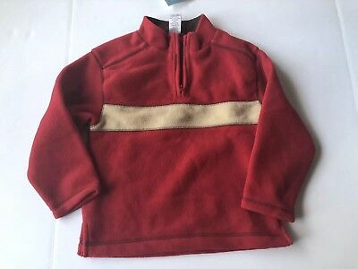 NWT Gymboree Boys Size 4 4T Fleece Partial Zip Pullover Red Tan