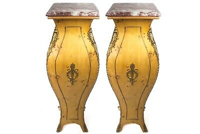 Pair Of Solid Wood Pedestals Column Hand Made French Style Louis Xv