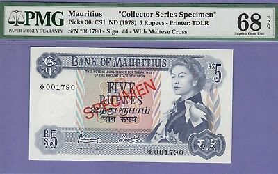 "Mauritius 5 Rupees Banknote""Specimen""ND(1978),Superb Gem Unc-68-PMG,Cat#30-C/CS1"
