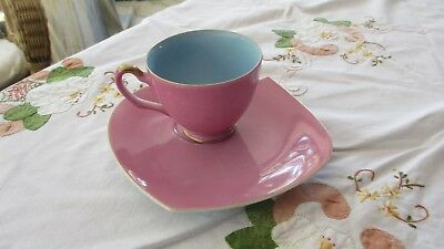 Vintage  Kitch Pink & Blue Tennis Plate & Cup set