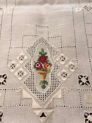 Pair of Vintage Needlepoint Placemats Ivory Floral Embroidery Stitching Delicate