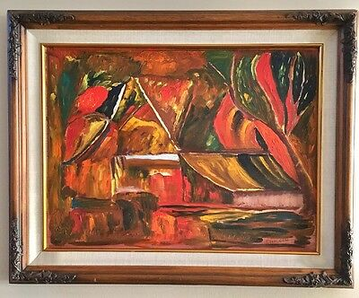 Vintage Mid Century Abstract Cubist Oil Painting Signed Framed