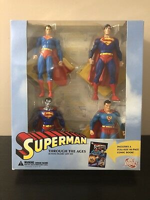 """DC Direct Superman """"Through the Ages"""" Action Figure Set of 4 MISB NEW"""