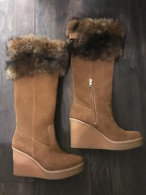 312a69e6043 UGG VALBERG CHESTNUT Suede Shearling Cuff Wedge Women's Boots Size Us 6.5  New