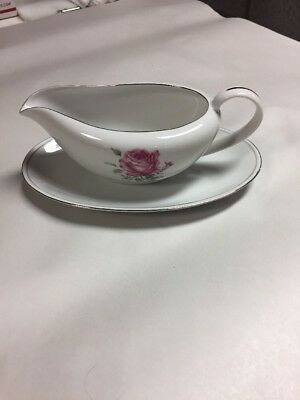 Fine China Of Japan Gravy Boat With Under plate In The Imperial Rose #6702