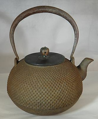 Antique Japanese cast iron teapot. Hob nail design. Lt. Edo/Early Meiji, 8 1/8""