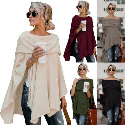 US Womens Off Shoulder Irregular Sweater Cloak Poncho Pullover Tops Shirt Blouse