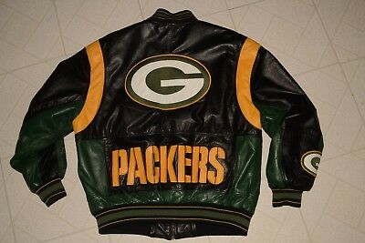90s Vtg GREEN BAY PACKERS Carl Banks G-III Satin lined LEATHER JACKET Mens L ca1227d60