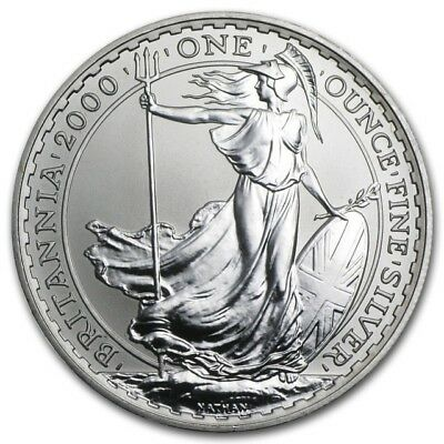 2000 Great Britain Britannia Silver 2 Pounds 1 oz (BU) Brilliant UNC Condition