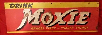 ORIGINAL 1920'S DRINK MOXIE EMBOSSED ADVERTISING TIN SIGN 20 in. X 6 3/4 in.