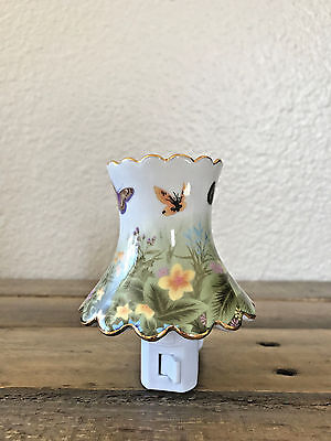 Butterfly and Floral Porcelain Plug in Night Light with bulp