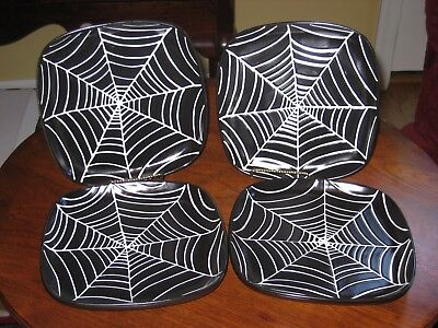 """4 POTTERY BARN Halloween SPIDER Web PLATES Pottery 7-1/2"""" Appetizer/Salad"""