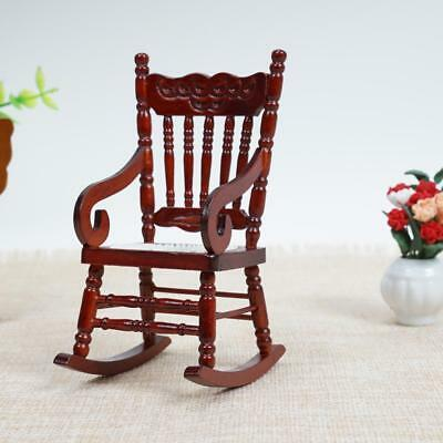 Doll House Miniature Furniture Classic coffee Wooden Rocking Chair 1:12 Scale❤lo