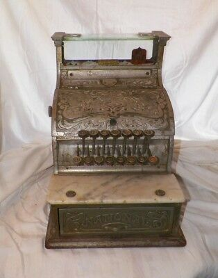 Antique National Candy Cash Register Mdl 130  1908 Nickel Plated Brass