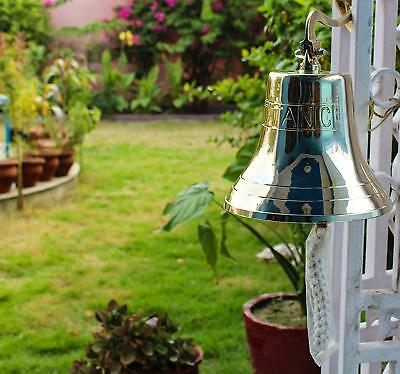 """11"""" Solid Brass Polished Bell W/Titanic Engraving Premium Nautical Boat's Bell"""