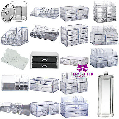 Clear Acrylic Storage Box Cosmetic Organizer Makeup Case Drawers Jewelry Holder
