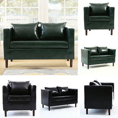 Large 2 Seater Settee Faux Leather Sofa Couch/Loveseat Lounge Tub Armchair Black